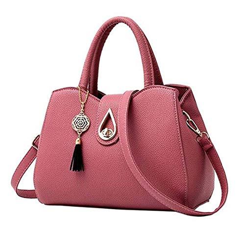 hsy Frauen Designer-Handtaschen Mode große PU-Leder Tote Messenger Multi-Fach Top-Griff Satchel Umhängetaschen (Color : Dark red)