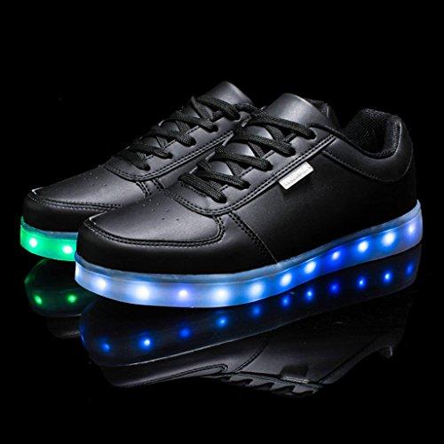 DoGeek LED Schuhe 7 Farbe USB Aufladen Leuchtend Sportschuhe Led Sneaker Turnschuhe für Herren Damen (Wählen Sie 1 größere Größe