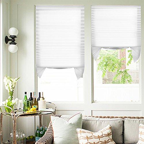 Tenda plissettata senza fori 110x182.88cm 2 Pezzi Bianco Tenda plisettata semi-oscuranti Persiana tagliabile Tenda per porta finestra