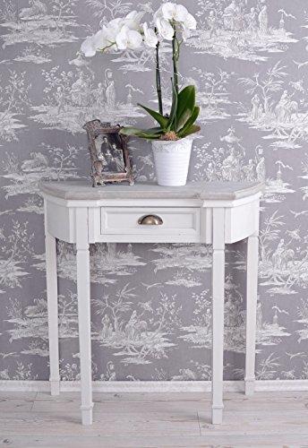 PALAZZO INT Vintage Wandtisch Tischkonsole Antik Wandkonsole Shabby Chic Konsole - Antik Weiß Beistelltisch