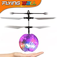 RC Toy,TURNMEON RC Flying Ball Aircraft , Hand Spinner RC Drone infrared Induction Helicopter Ball Built-in Shinning LED Lighting for Kids Teenagers Chirldren Boys Girls Colorful Flyings Halloween Christmas Birthday Gift (Clear)