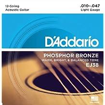 D'Addario EJ38 - Juego de cuerdas para guitarra acústica, material de fósforo/bronce, .010 - .047