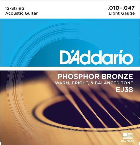 D\'Addario EJ38 Satz Bronzesaiten für 12saitige Akustikgitarren 010\' - 047\'