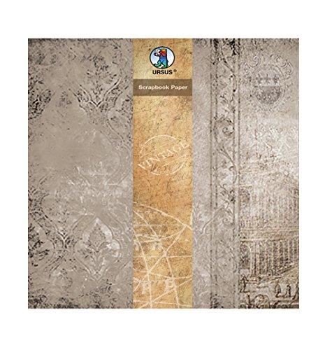 Ursus 40870007 - Scrapbook paper Vintage, ca. 30,5 x 30,5 cm, 5 Blatt, Barock