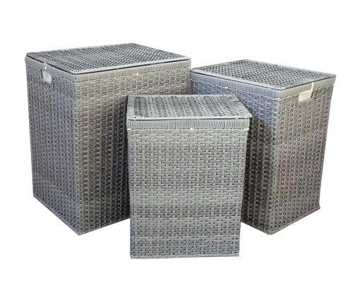 Wäschekorb aus grauem Rattan, Maße ca. 45x38x55cm