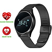 "Smart Watch Bluetooth 0.96"" OLED Touch Screen Bracciale Sportivo Fitness Activity Tracker Impermeabile Orologio Smartphone Cardiofrequenzimetro Blood Pressure Orologio con Telefono Support Andriod IOS Smartphone per Jogging Running Cycling M7 (nero acciaio)"