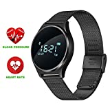'Smart Watch Bluetooth 0.96 OLED Touch Screen Armband Sport Fitness Activity Tracker Wasserdicht Uhr Smartphone Herzfrequenzmesser Blood Pressure Uhr mit Telefon Support Andriod iOS Smartphone-Jogging Running Cycling M7 nero acciaio