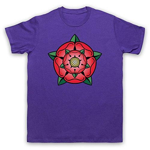 Tudor Rose British Regal Heraldic Symbol Herren T-Shirt Violett