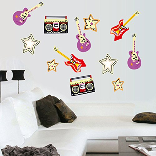 Huangshi7230 Etiqueta Pared Grabador Guitarra Extraíble
