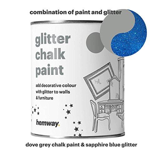 Hemway Kreidefarbe (mit Glitzer), taubengrau, funkelnd, mattes Finish für Wand und Möbel, Farbe, 1 l, Shabby Chic Vintage Kreidig Kristall (25glitzernde Farben erhältlich), blau - Blaue Rustikale Kommode