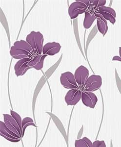 papier peint floral grandeco vilamoura prune violet boa 013 101 3 cuisine maison. Black Bedroom Furniture Sets. Home Design Ideas