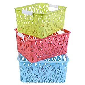 AB SALES Storage Freezer Bins,Refrigerator Organizer Trays, Plastic Containers for Home Kitchen Organization Vegetable Fruit Food Storage Basket Rack Organizer(24.5X16.5X13.5 cm, 3 PCS)