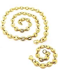 BOBIJOO Jewelry - Ensemble Lot Collier Chaîne + Bracelet Grain de Café  Acier Plaqué Or 4 169fccc2e41