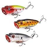 lzndeal 3pcs/set 7cm–Señuelo de pesca Crankbait con gancho cebo de Pez Artificial para Bass Trout dorado Redfish