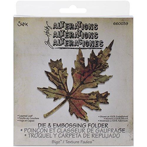 Sizzix 660039 - Layered Leaf Bigz Stanzform mit A2 Texture Fades Folder von Tim Holtz -