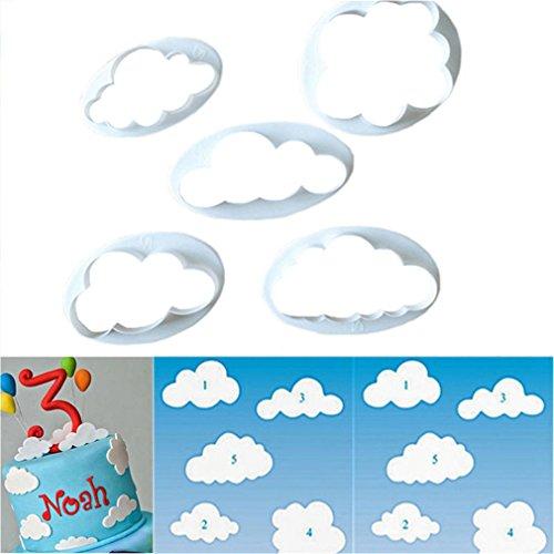 HENGSONG 5tlg. Keks Ausstechformen Cloud Wolken Ausstecher DIY Fondant Ausstechformen Deko Utensilien Modellierwerkzeug Fondant Kuchen Tortendekoration für Backen