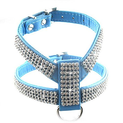 Meijunter Dog Cane Puppy Rhinestone Crystal Durable Chest Strap Harness PU Leather Collar Collare blue L(Neck:Adjustable21-31cm chest:30-46cm)
