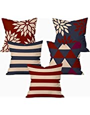 Kridhay Natura Life Velvet Decorative Throw Pillow/Cushion Covers (Multicolour, 16 x 16 inch) - Set of 5