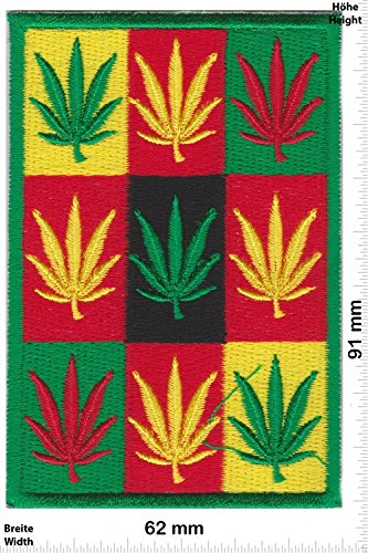 Patch - Cannabis - Color - Marihuana - Hanf - Gras - Dope -- Bike - Peace Frieden Patch - Dope Marihuana Gras Patches - Aufnäher Embleme Bügelbild Aufbügler (Thailand Hanf)