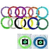 UEETEK 14 colori stampa 3D penna filamento ricariche Kit 1,75 mm ABS 10M per ogni rotolo (normale 12 colori + fluorescente verde + fluorescenti blu)