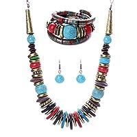 MJARTORIA Bib Bracelet Earrings Turquoise Artificial Wedding Colorful Jewelry Set Women Necklace