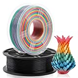Filamento PLA 1,75 mm, 1 kg * 2, Arcobaleno multicolore& Nero, avvolgimento ordinato aggiornato, nessun groviglio