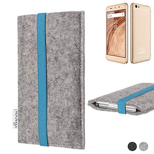 flat.design Handy Hülle Coimbra für Blaupunkt SL02 - Schutz Case Tasche Filz Made in Germany hellgrau türkis