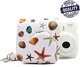Fujifilm Instax Mini case Cover for Instax 8/8+ / 9 Starfish PU Leather Bag White