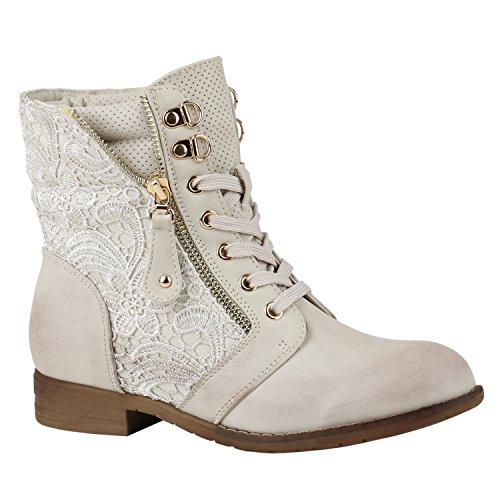 Kostüm Hoch Beine - Stylische Damen Stiefeletten Worker Boots Knöchelhohe Stiefel Gesteppt Damen Leder-Optik Zipper Schuhe 144308 Creme Zipper 40 Flandell