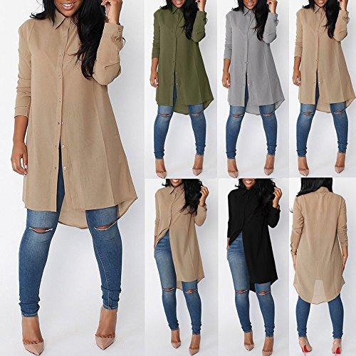 Minetom Femmes Chemise Robe Manches Longues Mousseline de Soie Lâche Mode Casual Tunique Robe Blouse Shirt Chemise Longue Gris
