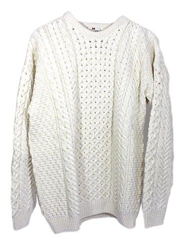 Irische Aran-damen-pullover (traditionellen irischen Aran Merino Wolle Pullover Gr. Small, Elfenbein - Off White (Seashell))