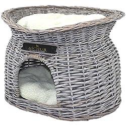 MICHUR Richy, Cave of Cats, Cave Dogs, Cat Basket, Dog Basket, Willow, Malacca, Natura, ca. 55x39x43cm (Dimensiones: Aproximadamente 40x28cm), Canasta de Mimbre de Gato Gris Cat