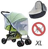 Baby XL Premium Universal-Insektenschutz für Kinderwagen und Babywiegen mit Gummizug, Mückennetz, Moskitonetz, extra gross, feinmaschig, weiss