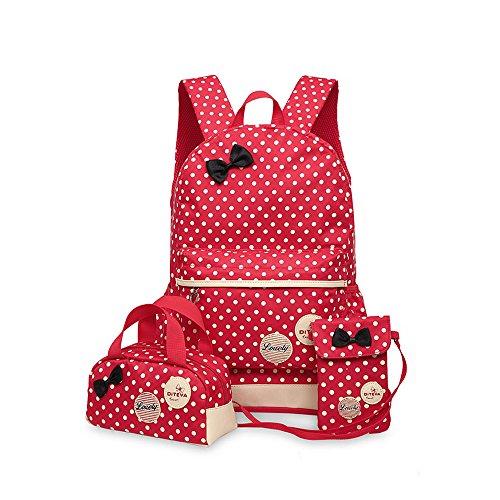 Cheerlife 3-teilig Mädchen Rucksack Schulrucksack Backpack Schultasche Outdoor Camping Picknick Schule Rucksäcke Daypacks Umhängetasche Handtasche (Rot)