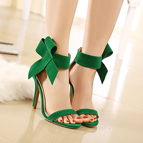 Aisun Damen Modisch Schleifen Suede Hocher Absatz Stiletto Reißverschluss  Sandalen Grün