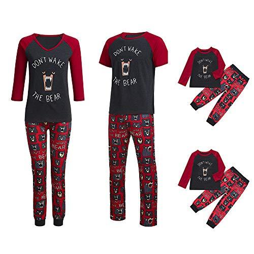 Weihnachten Schlafanzug Familien Outfit Mutter Vater Kind Baby Pajama Casual Langarm Nachtwäsche Print Sleepwear Casual Damen Rundkragen Langarmshirt Herren Kurzarm T-Shirt Oberteile Top Hose Set