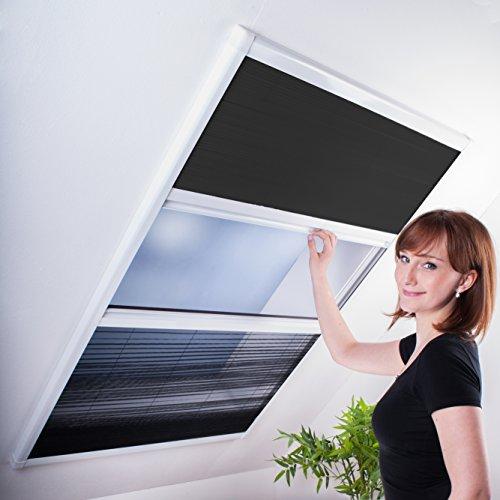 Kombi Dachfenster-Plissee - Sonnenschutz & Fliegengitter für Dachfenster 110 x 160 cm | weißer Rahmen