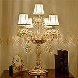 Uncle Sam LI- Kristall Tischlampe, Luxus-hochwertige Gold Tischlampe mit dem Kristall und Stoff Lampenschirm für im Wohnzimmer Schlafzimmer Nacht (Farbe : 5. licht)