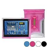 DiCAPac WP-T20 Universelle, wasserdichte Hülle für HP 10 Plus / Omni 10 / Touchpad Tablets in Pink (Doppel-Klettverschluss, IPX8-Zertifizierung zum Schutz vor Wasser bis 5m Tiefe; integriertes Luftkissen treibt auf dem Wasser & schützt das Gerät; extraklare Polycarbonat-Fotolinse; integrierte Handschlaufe)