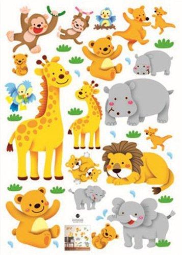 OEM Wand-Aufkleber, Giraffe, Löwe, AFFE, Nilpferd, Elefant, als Wanddekoration für Kinderzimmer, Dschungel-Tiere, ablösbar -