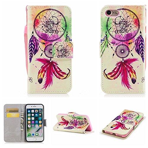 Ooboom® iPhone 5SE Hülle Flip Folio PU Leder Schutzhülle Handy Tasche Brieftasche Case Cover Stand für iPhone 5SE - Einhorn Traumfänger