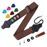 Aneco Guitar Strap Soft Adjustable Guitar Shoulder Strap With Guitar Strap Lock Guitar Buttons and Colorful Guitar Picks, 12 Pieces (Dark brown)
