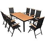 Tidyard Table de Jardin d'extérieur 9 pcs Aluminium WPC pour Salon, Jardin, Patio Noir et Marron 185 x 90 x 74 cm