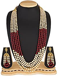 The Luxor Wedding Bridal Jewellery Multi-Strand Rani Haar Kundan Pearl Necklace Set With Earrings For Women And...
