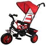 #10: Baybee Smobee Trolly Cycle with Canopy - Double Handle Parent Control (Black-Red)