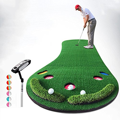 QiangDa Enlarged Golf Putting/Practice Mat Personal Practice Mat Outdoor/indoor Leisure Easy Folding, 300 X 90cm, 2 Sets Optional ( Color : 1# )