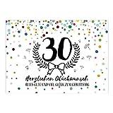 Große XXL Design Glückwunsch-Karte zum 30. Geburtstag mit Umschlag/DIN A4/Konfetti Look mit Kranz/Runder Geburtstag/Grußkarte