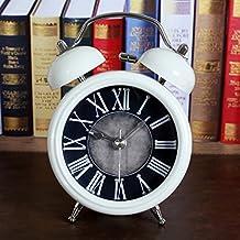 HOME Estilo Europeo Retro Do Metal Antiguo Jugando Belces Reloj Despertador Antiguo Creativo Sentado Reloj Reloj De Mesa Luz De Noche ( Color : Rivets )