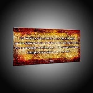 Zitat von Karl May über Buch als Kunstdruck auf Leinwand in 110x220