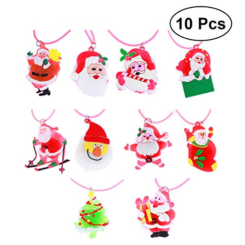 BESTOYARD 10pcs Weihnachten Halskette mit LED Kinder Halskette Spielzeug Geschenk (Zufällige Muster) (Blinkende Weihnachten Halsketten)